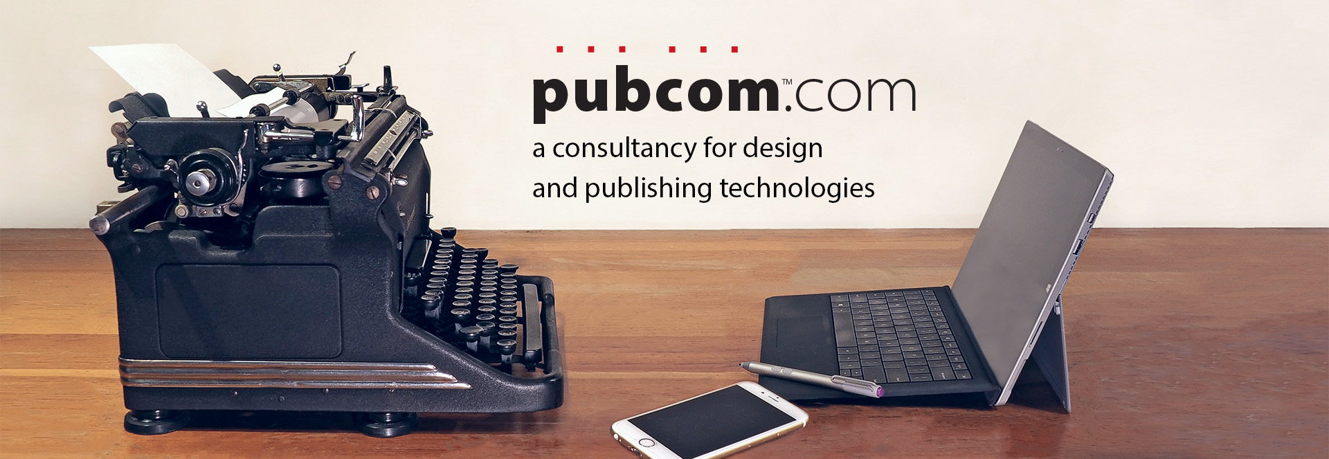 Logo, Pub Com dot Com: a consultancy for design and publishing technologies